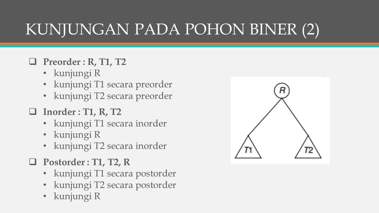 KUNJUNGAN PADA POHON BINER (2)  Preorder : R, T1, T2 kunjungi R kunjungi T1 secara preorder kunjungi T2 secara preorder  Inorder : T1, R, T2 kunjungi T1 secara inorder kunjungi R kunjungi T2 secara inorder  Postorder : T1, T2, R kunjungi T1 secara postorder kunjungi T2 secara postorder kunjungi R