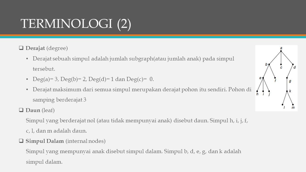TERMINOLOGI (2)  Derajat (degree) Derajat sebuah simpul adalah jumlah subgraph(atau jumlah anak) pada simpul tersebut. Deg(a)= 3, Deg(b)= 2, Deg(d)=