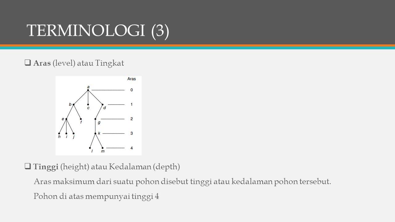 TERMINOLOGI (3)  Aras (level) atau Tingkat  Tinggi (height) atau Kedalaman (depth) Aras maksimum dari suatu pohon disebut tinggi atau kedalaman poho