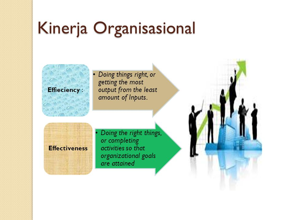 Kinerja Organisasional Doing things right, or getting the most output from the least amount of Inputs. Effieciency : Doing the right things, or comple