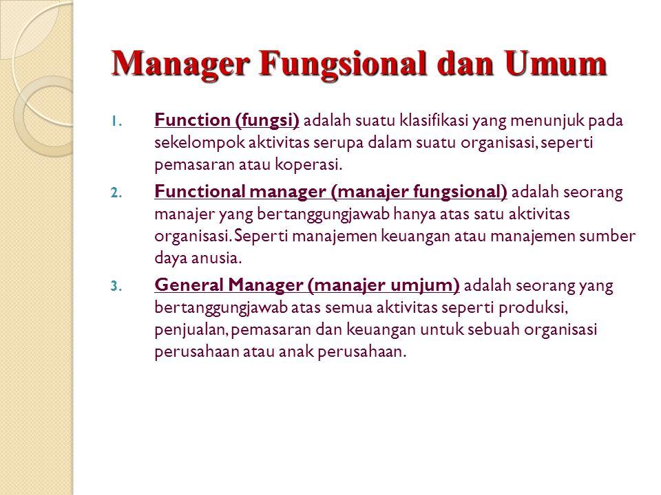 Manager Fungsional dan Umum 1. Function (fungsi) adalah suatu klasifikasi yang menunjuk pada sekelompok aktivitas serupa dalam suatu organisasi, seper