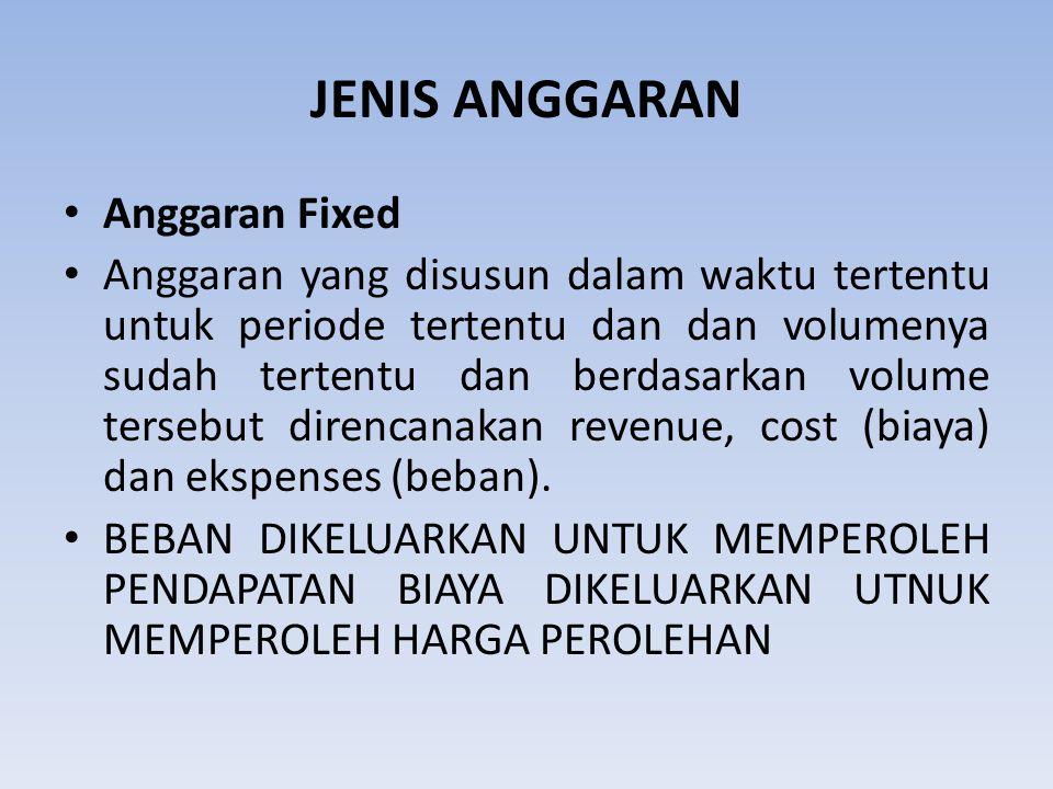 JENIS ANGGARAN Anggaran Fixed Anggaran yang disusun dalam waktu tertentu untuk periode tertentu dan dan volumenya sudah tertentu dan berdasarkan volum