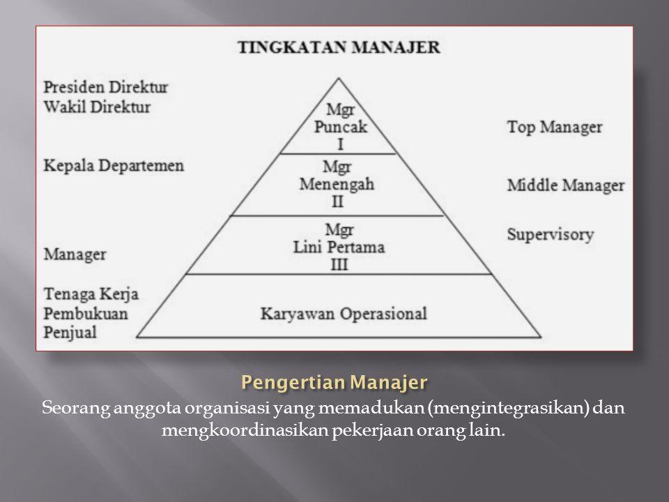 Seorang anggota organisasi yang memadukan (mengintegrasikan) dan mengkoordinasikan pekerjaan orang lain.