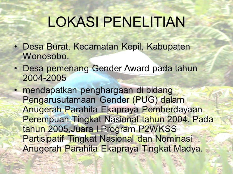 LOKASI PENELITIAN Desa Burat, Kecamatan Kepil, Kabupaten Wonosobo. Desa pemenang Gender Award pada tahun 2004-2005 mendapatkan penghargaan di bidang P