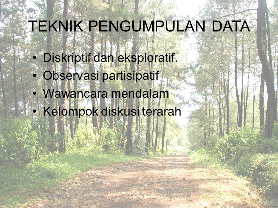 TEKNIK PENGUMPULAN DATA Diskriptif dan eksploratif. Observasi partisipatif Wawancara mendalam Kelompok diskusi terarah