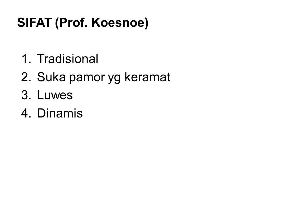 SIFAT (Prof. Koesnoe) 1.Tradisional 2.Suka pamor yg keramat 3.Luwes 4.Dinamis