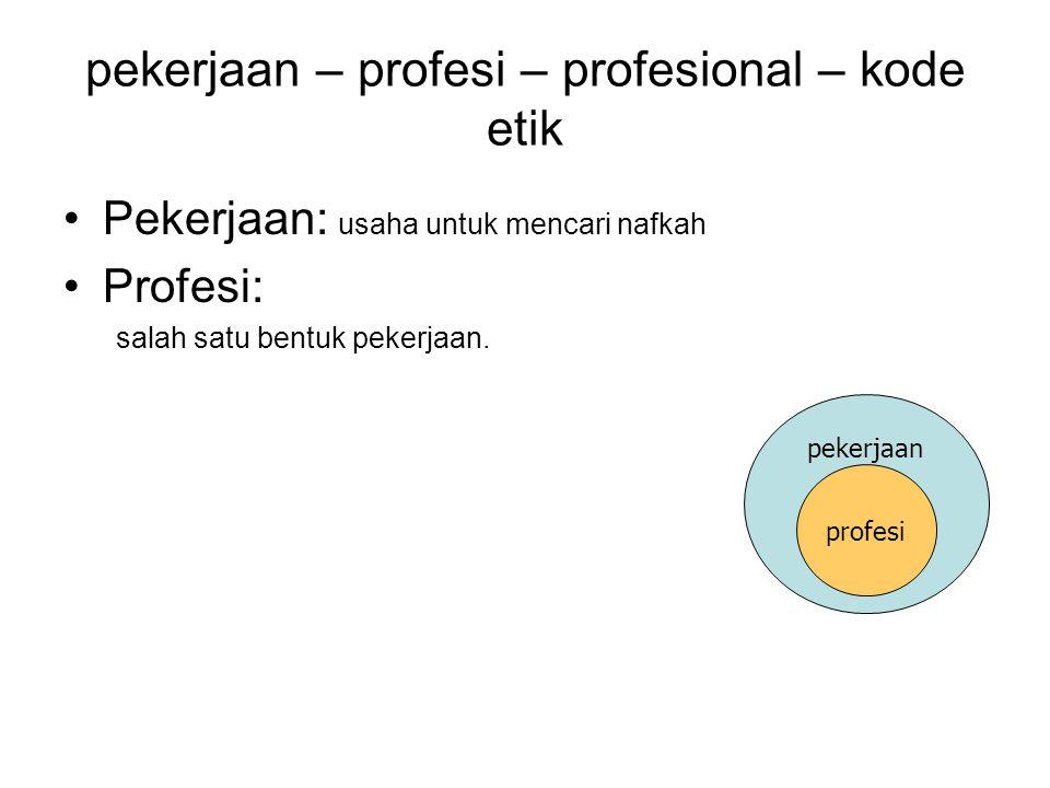 pekerjaan – profesi – profesional – kode etik Pekerjaan: usaha untuk mencari nafkah Profesi: salah satu bentuk pekerjaan. pekerjaan profesi