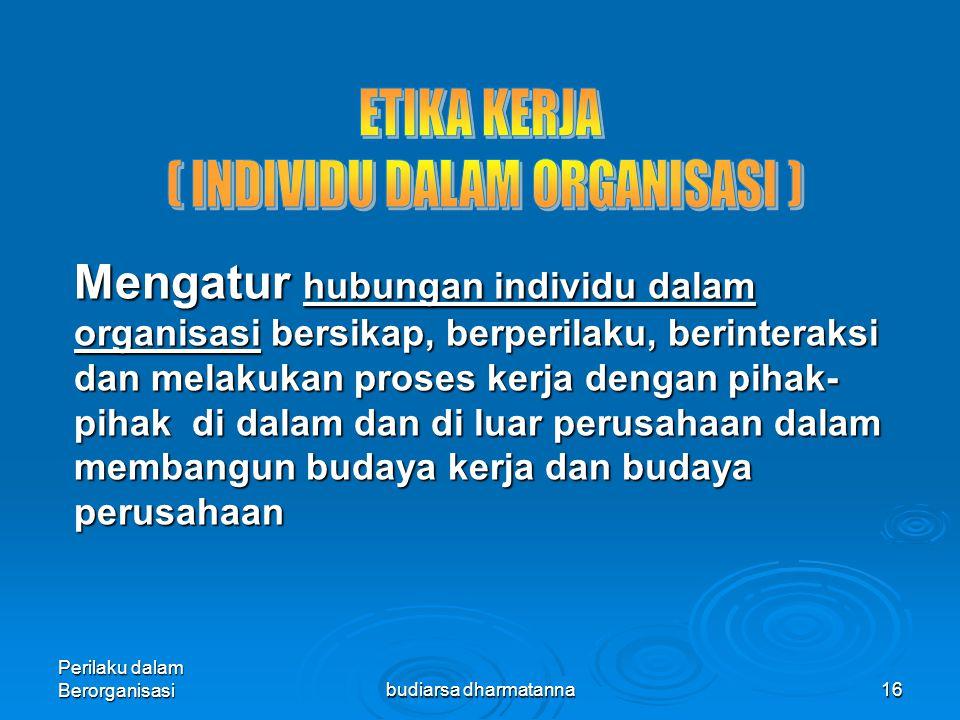 Perilaku dalam Berorganisasibudiarsa dharmatanna15 MENGEMBANGKAN ETIKA DI TEMPAT KERJA 1.Menerapkan tingkah laku etis (pemimpin/mgr sebagai model peran) 2.Penyaringan karyawan dalam seleksi awal 3.Mengembangkan kode etik 4.Menyediakan pelatihan etika 5.Memberikan dukungan terhadap perilaku etis 6.Menerapkan etika dalam praktek sehari-hari