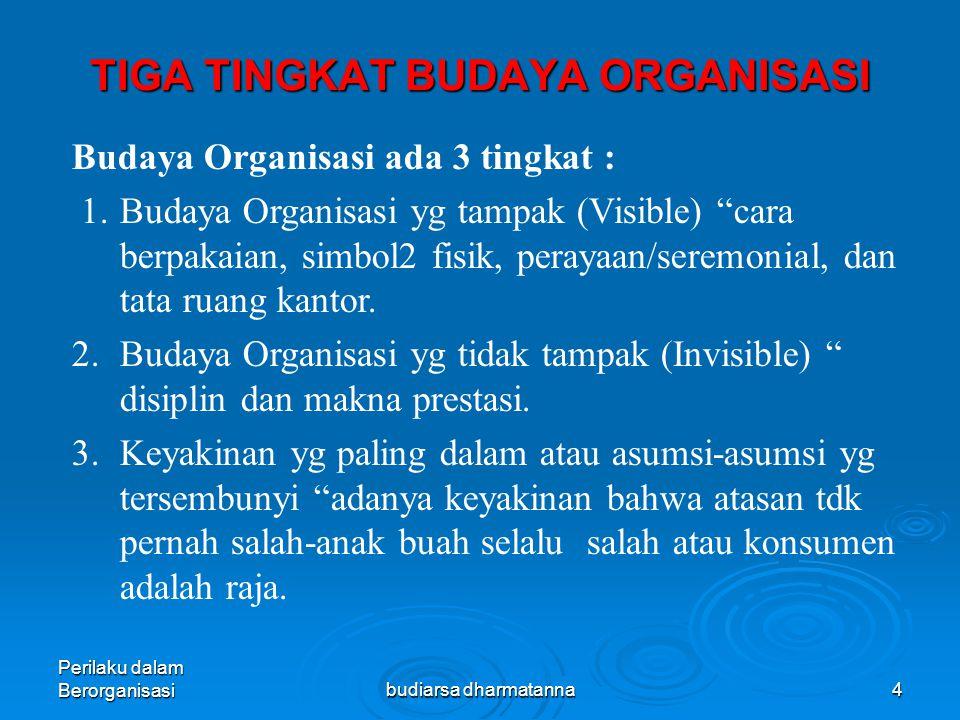 Perilaku dalam Berorganisasibudiarsa dharmatanna3  Budaya Organisasi merupakan Nilai-nilai dan norma yang dianut dan dijalankan oleh sebuah organisasi terkait dengan lingkungan di mana organisasi tersebut menjalankan kegiatannya  Budaya organisasi merupakan apa yang dirasakan, apa yang diyakini, dan apa yang dijalani oleh sebuah organisasi.
