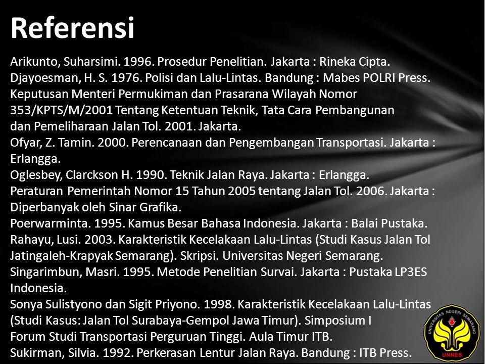 Referensi Arikunto, Suharsimi. 1996. Prosedur Penelitian. Jakarta : Rineka Cipta. Djayoesman, H. S. 1976. Polisi dan Lalu-Lintas. Bandung : Mabes POLR