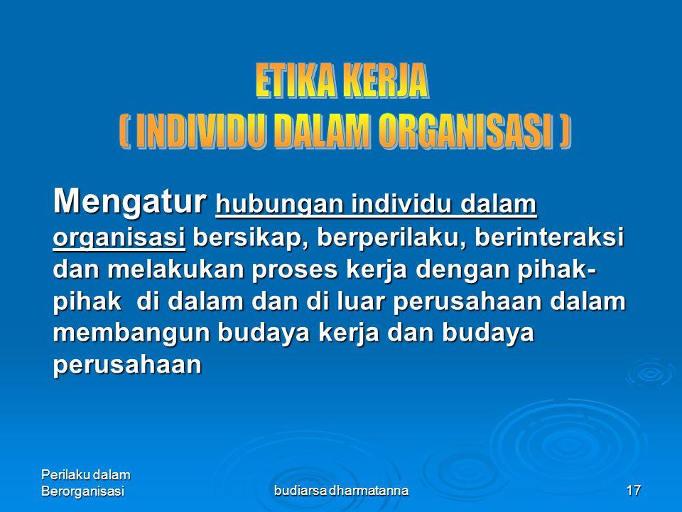 Perilaku dalam Berorganisasibudiarsa dharmatanna16 MENGEMBANGKAN ETIKA DI TEMPAT KERJA 1.Menerapkan tingkah laku etis (pemimpin/mgr sebagai model pera