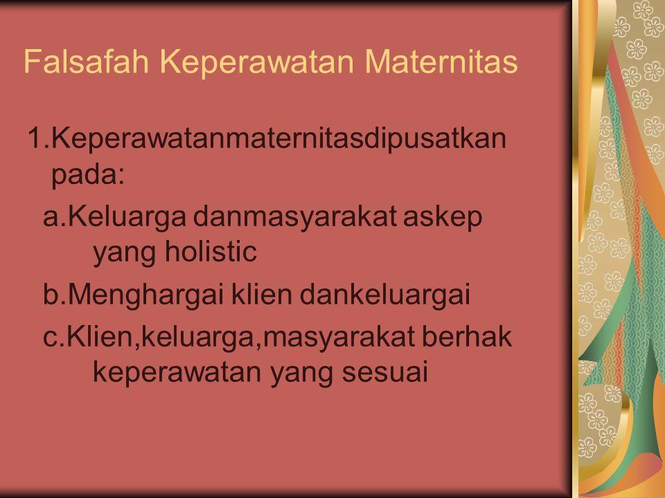 Falsafah Keperawatan Maternitas 1.Keperawatanmaternitasdipusatkan pada: a.Keluarga danmasyarakat askep yang holistic b.Menghargai klien dankeluargai c