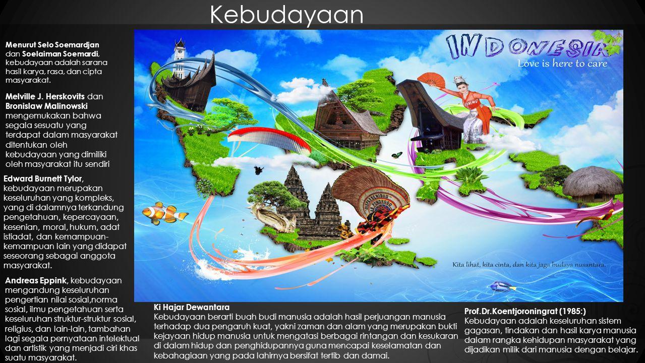 Kebudayaan Prof.Dr.Koentjoroningrat (1985:) Kebudayaan adalah keseluruhan sistem gagasan, tindakan dan hasil karya manusia dalam rangka kehidupan masyarakat yang dijadikan milik dari manusia dengan belajar.