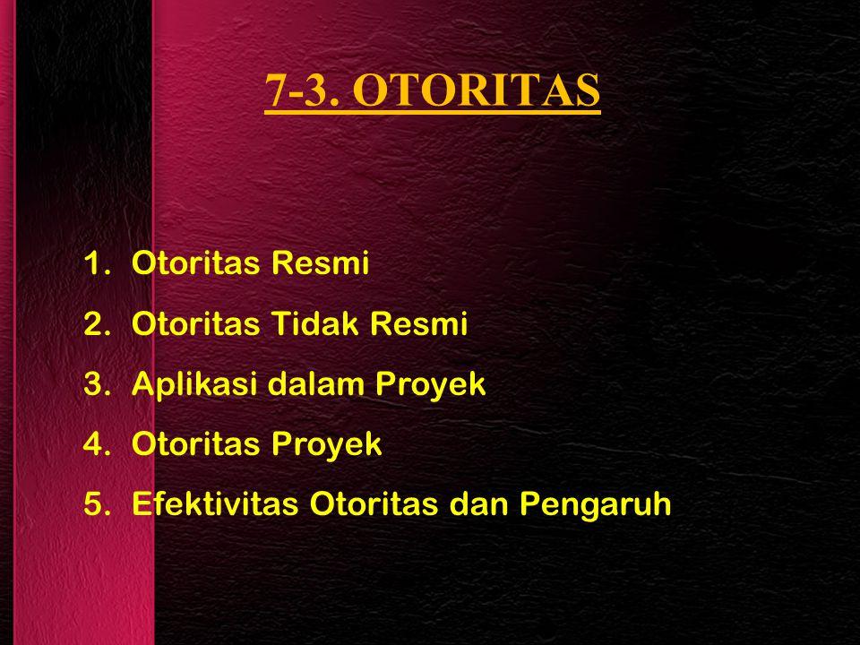 7-3. OTORITAS 1.Otoritas Resmi 2.Otoritas Tidak Resmi 3.Aplikasi dalam Proyek 4.Otoritas Proyek 5.Efektivitas Otoritas dan Pengaruh
