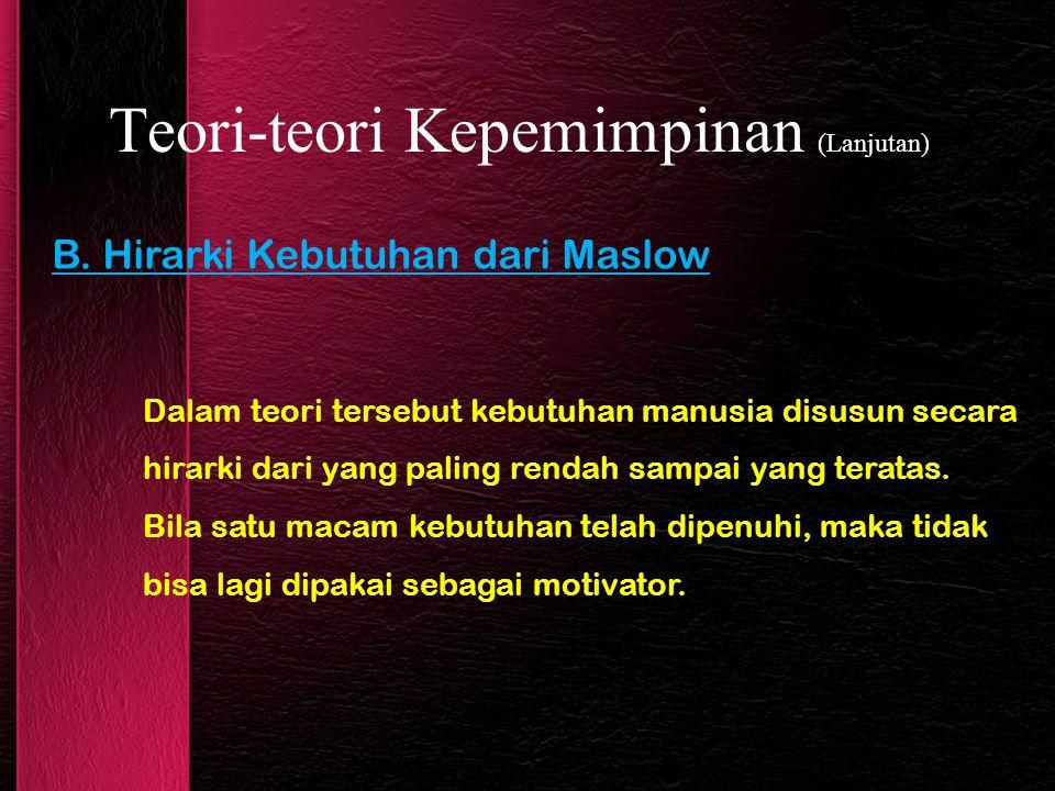 B. Hirarki Kebutuhan dari Maslow Teori-teori Kepemimpinan (Lanjutan) Dalam teori tersebut kebutuhan manusia disusun secara hirarki dari yang paling re