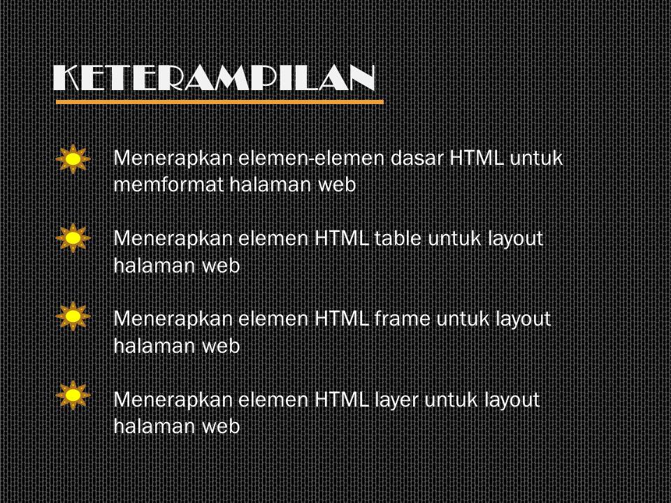 KETERAMPILAN Menerapkan elemen-elemen dasar HTML untuk memformat halaman web Menerapkan elemen HTML table untuk layout halaman web Menerapkan elemen H