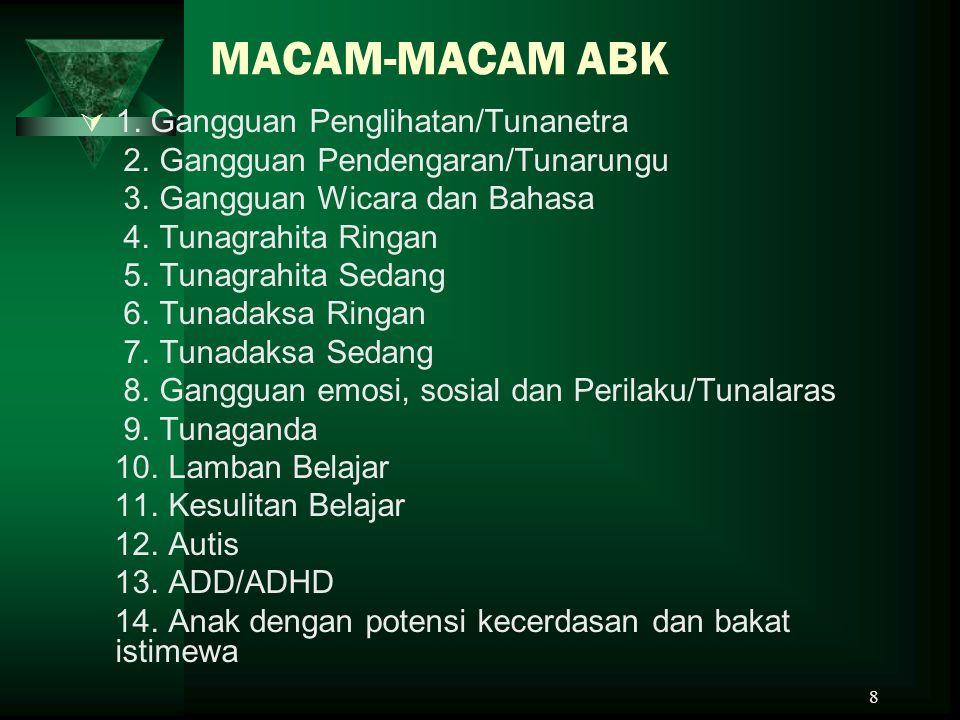 8 MACAM-MACAM ABK  1.Gangguan Penglihatan/Tunanetra 2.