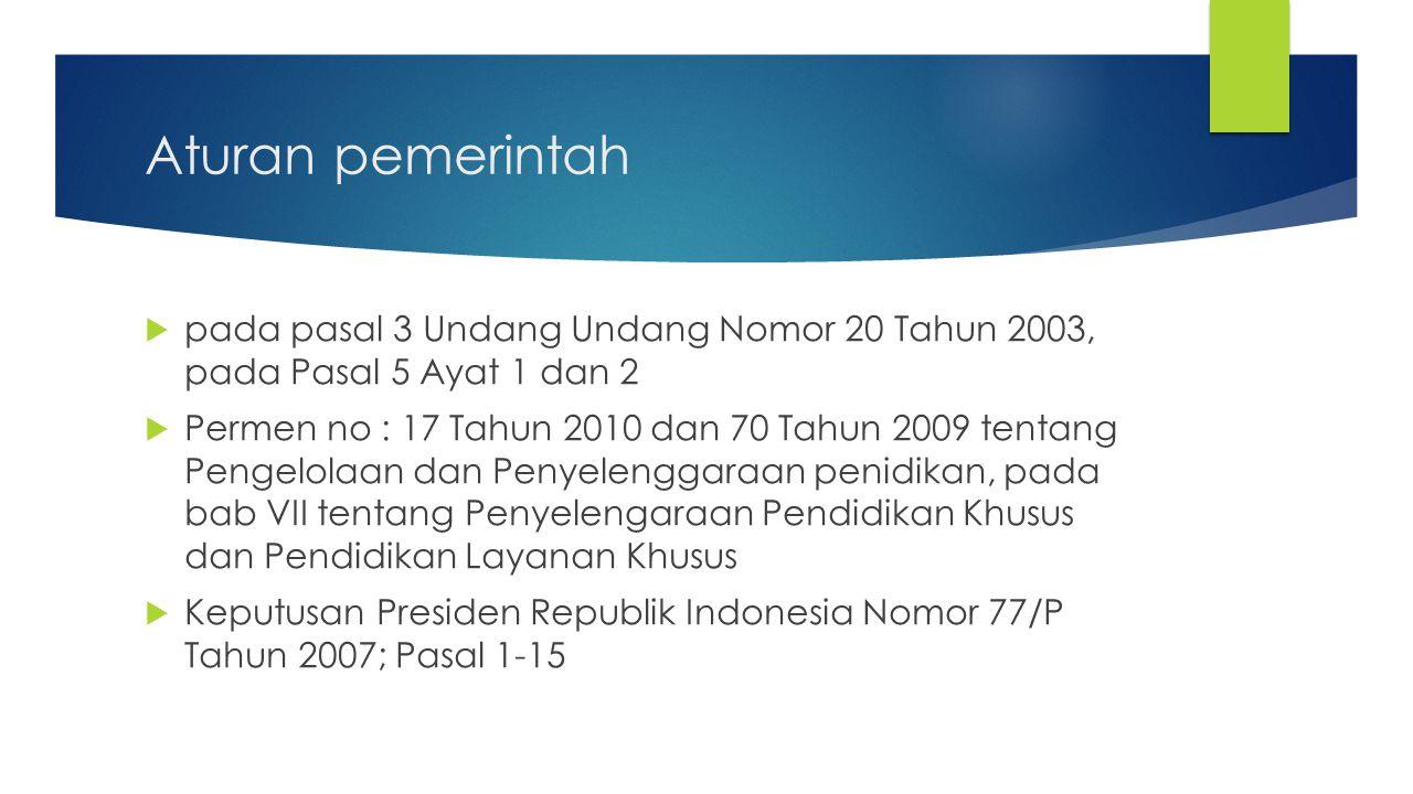 Aturan pemerintah  pada pasal 3 Undang Undang Nomor 20 Tahun 2003, pada Pasal 5 Ayat 1 dan 2  Permen no : 17 Tahun 2010 dan 70 Tahun 2009 tentang Pe
