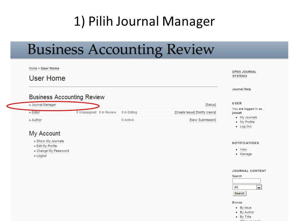 1) Pilih Journal Manager