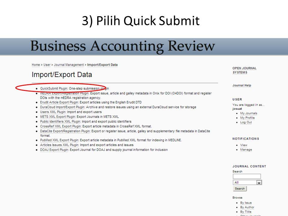 4) Masukan data submission destination