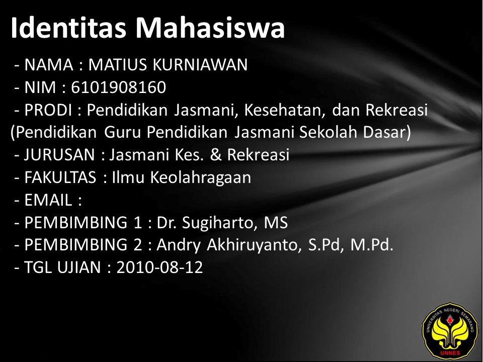 Identitas Mahasiswa - NAMA : MATIUS KURNIAWAN - NIM : 6101908160 - PRODI : Pendidikan Jasmani, Kesehatan, dan Rekreasi (Pendidikan Guru Pendidikan Jas