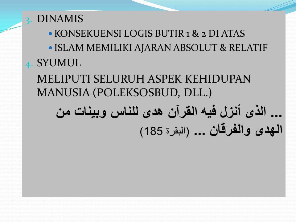 3. DINAMIS KONSEKUENSI LOGIS BUTIR 1 & 2 DI ATAS ISLAM MEMILIKI AJARAN ABSOLUT & RELATIF 4. SYUMUL MELIPUTI SELURUH ASPEK KEHIDUPAN MANUSIA (POLEKSOSB