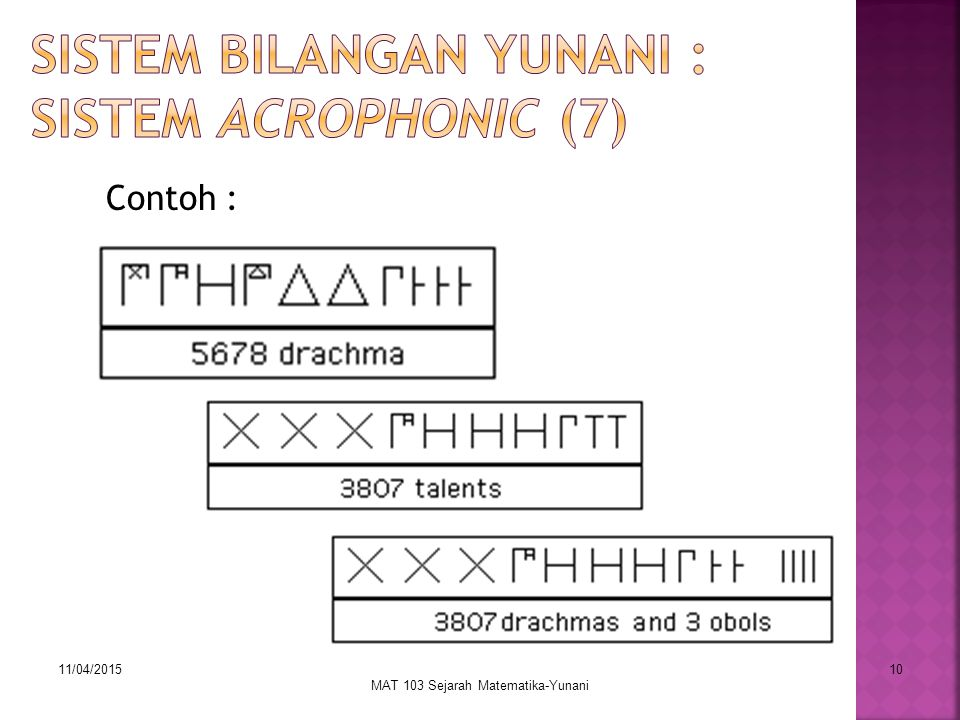 11/04/2015 MAT 103 Sejarah Matematika-Yunani 10 Contoh :