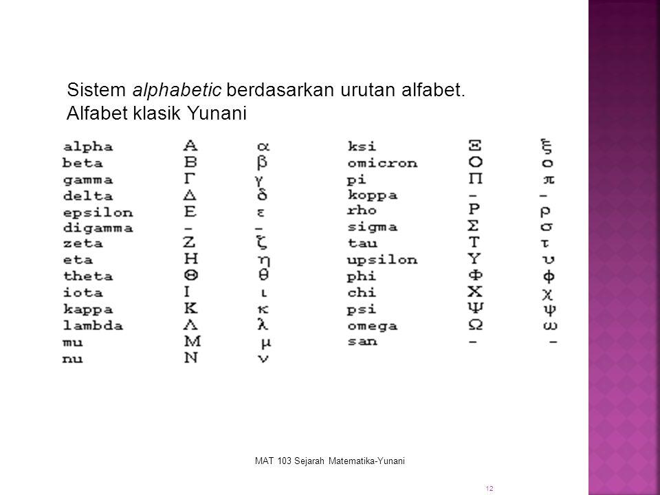12 Sistem alphabetic berdasarkan urutan alfabet. Alfabet klasik Yunani MAT 103 Sejarah Matematika-Yunani