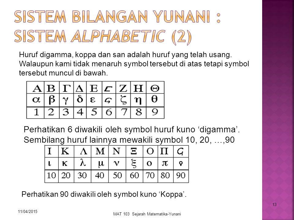 11/04/2015 MAT 103 Sejarah Matematika-Yunani 13 Huruf digamma, koppa dan san adalah huruf yang telah usang. Walaupun kami tidak menaruh symbol tersebu