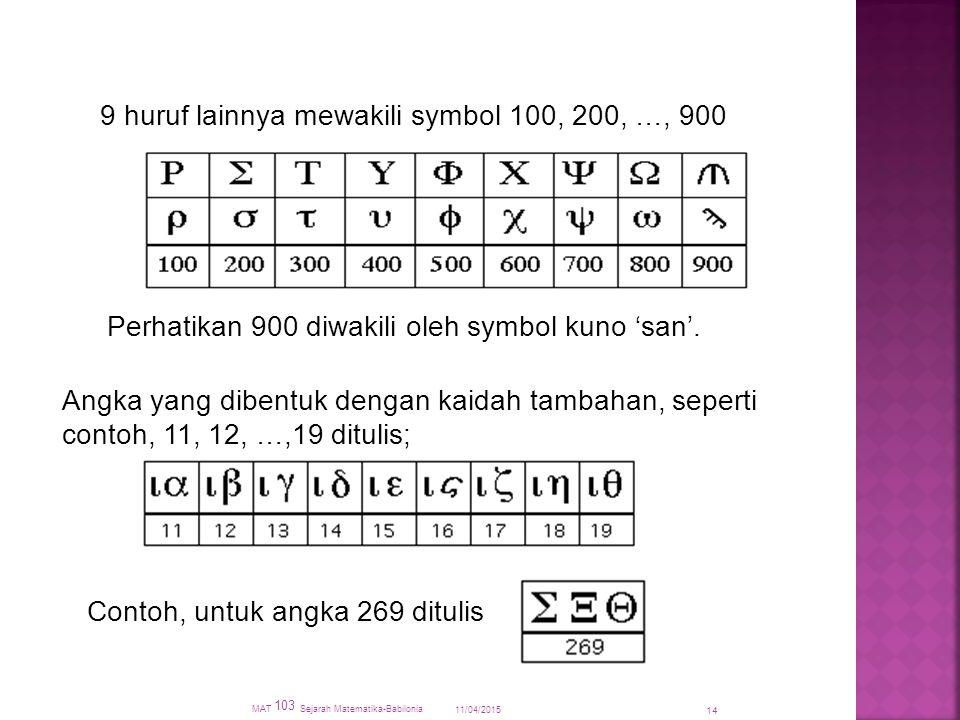 11/04/2015 MAT 103 Sejarah Matematika-Babilonia 14 9 huruf lainnya mewakili symbol 100, 200, …, 900 Perhatikan 900 diwakili oleh symbol kuno 'san'.