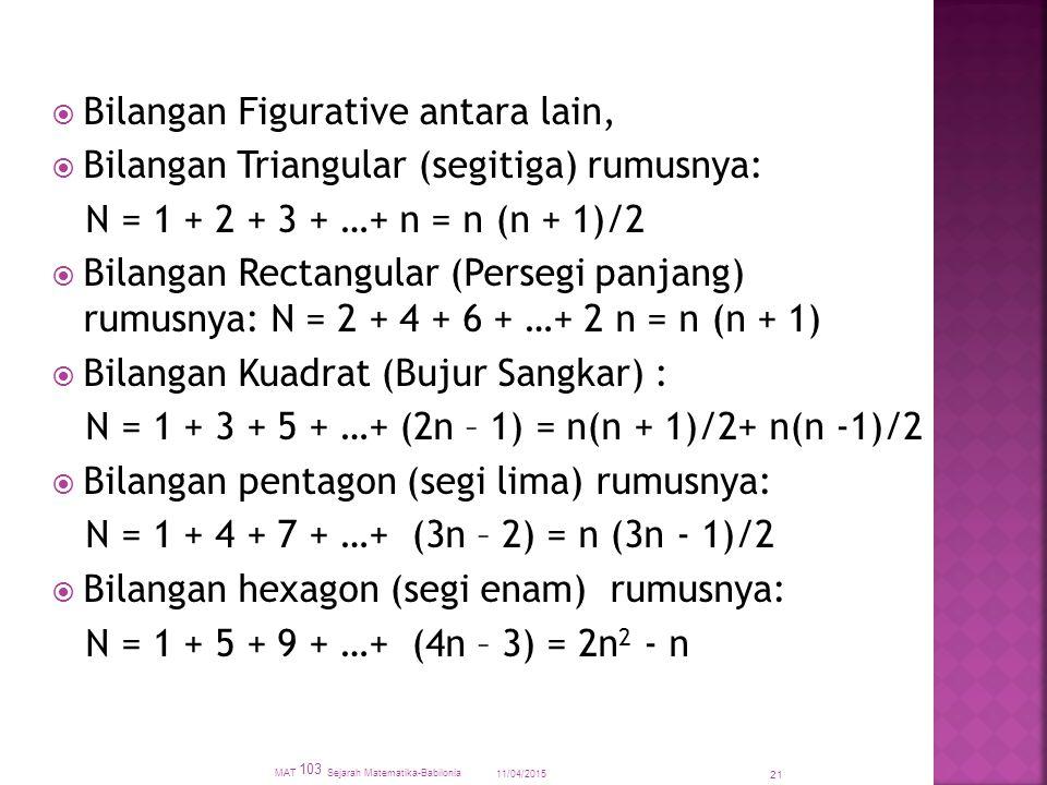  Bilangan Figurative antara lain,  Bilangan Triangular (segitiga) rumusnya: N = 1 + 2 + 3 + …+ n = n (n + 1)/2  Bilangan Rectangular (Persegi panjang) rumusnya: N = 2 + 4 + 6 + …+ 2 n = n (n + 1)  Bilangan Kuadrat (Bujur Sangkar) : N = 1 + 3 + 5 + …+ (2n – 1) = n(n + 1)/2+ n(n -1)/2  Bilangan pentagon (segi lima) rumusnya: N = 1 + 4 + 7 + …+ (3n – 2) = n (3n - 1)/2  Bilangan hexagon (segi enam) rumusnya: N = 1 + 5 + 9 + …+ (4n – 3) = 2n 2 - n 11/04/2015 MAT 103 Sejarah Matematika-Babilonia 21