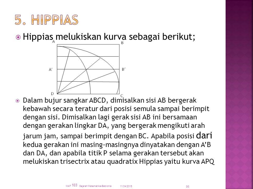  Hippias melukiskan kurva sebagai berikut;  Dalam bujur sangkar ABCD, dimisalkan sisi AB bergerak kebawah secara teratur dari posisi semula sampai berimpit dengan sisi.