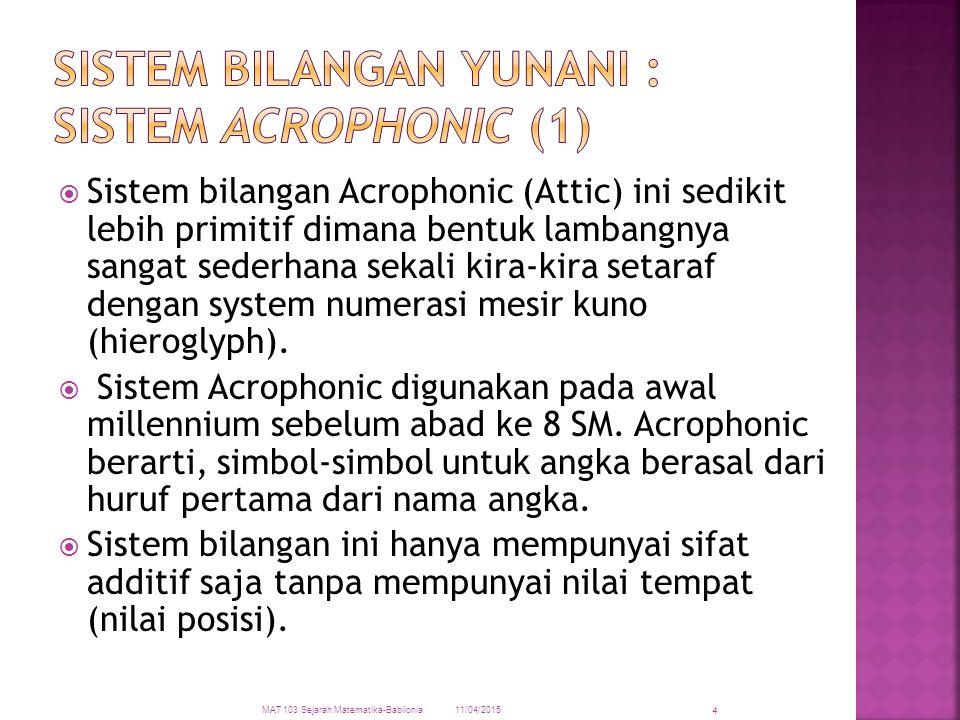  Sistem bilangan Acrophonic (Attic) ini sedikit lebih primitif dimana bentuk lambangnya sangat sederhana sekali kira-kira setaraf dengan system numer