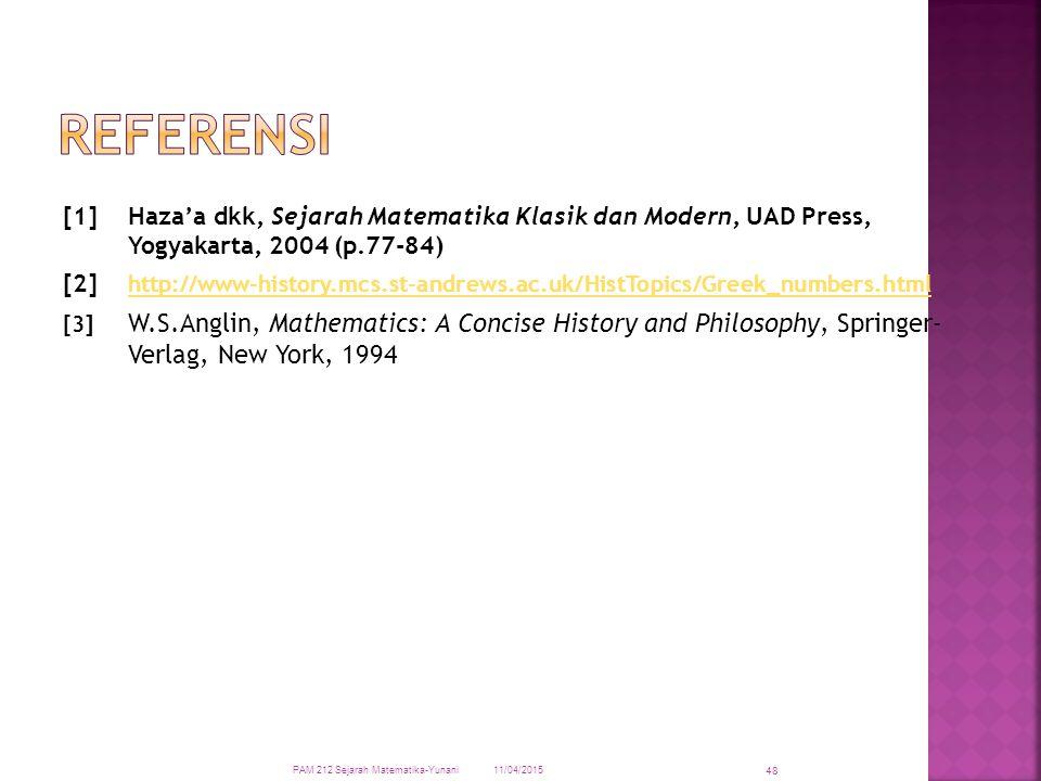 [1]Haza'a dkk, Sejarah Matematika Klasik dan Modern, UAD Press, Yogyakarta, 2004 (p.77-84) [2] http://www-history.mcs.st-andrews.ac.uk/HistTopics/Gree