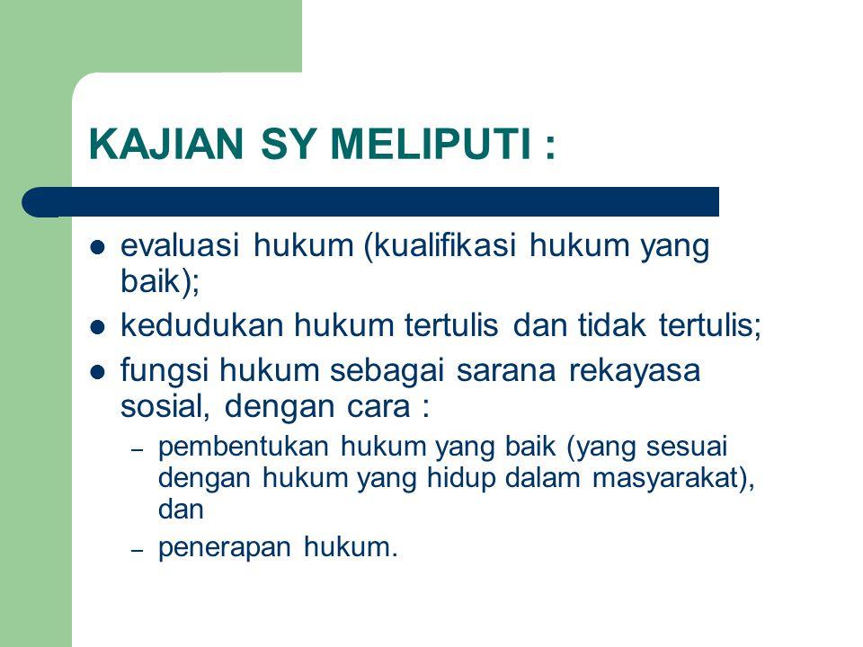 KAJIAN SY MELIPUTI : evaluasi hukum (kualifikasi hukum yang baik); kedudukan hukum tertulis dan tidak tertulis; fungsi hukum sebagai sarana rekayasa s