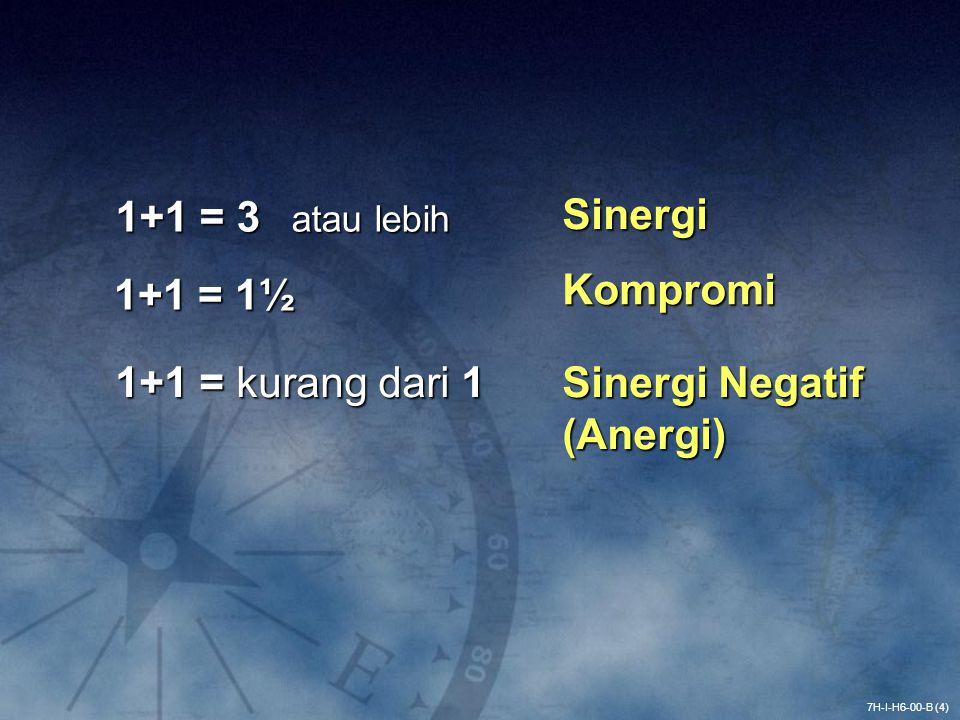 1+1 = 3 atau lebih 7H-I-H6-00-B (4) Sinergi 1+1 = 1½ Kompromi 1+1 = kurang dari 1 Sinergi Negatif (Anergi)