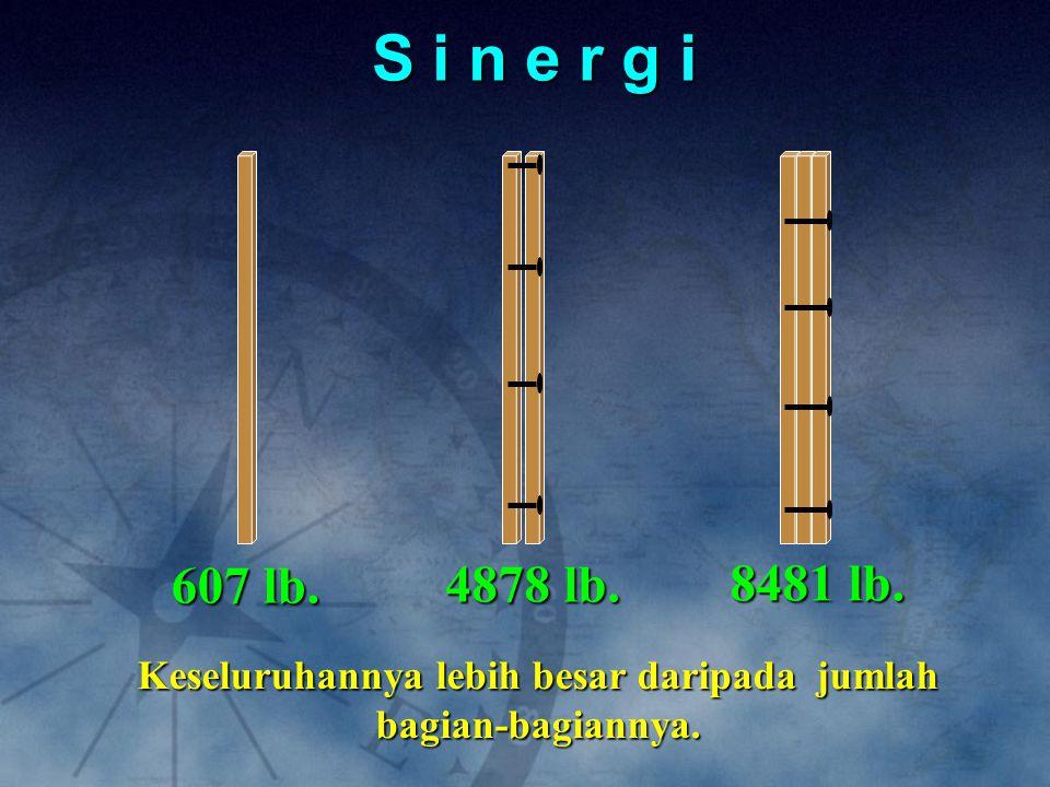 S i n e r g i 4878 lb. 607 lb. 8481 lb. Keseluruhannya lebih besar daripada jumlah bagian-bagiannya.