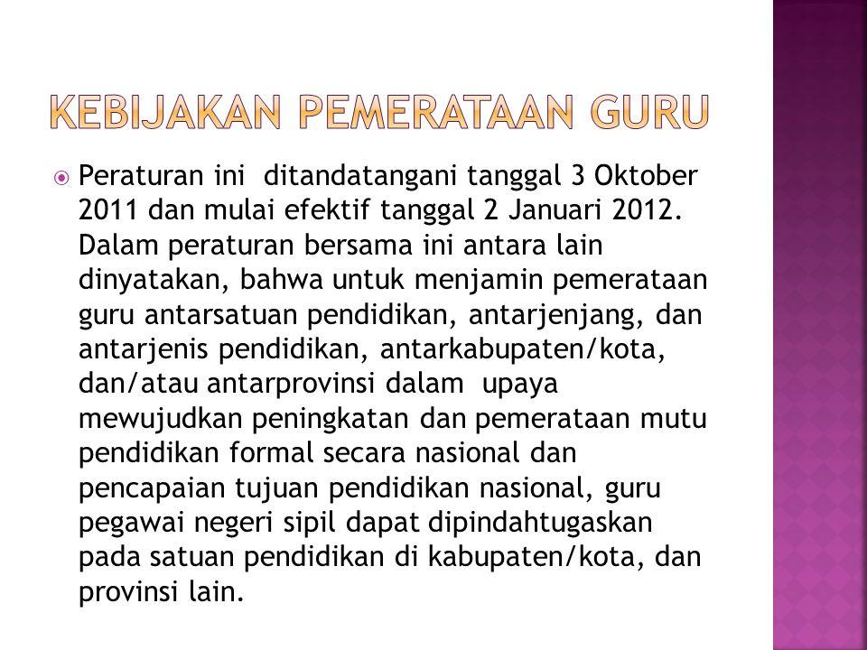  Peraturan ini ditandatangani tanggal 3 Oktober 2011 dan mulai efektif tanggal 2 Januari 2012. Dalam peraturan bersama ini antara lain dinyatakan, ba