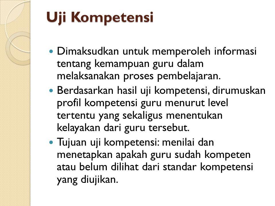 Uji Kompetensi Dimaksudkan untuk memperoleh informasi tentang kemampuan guru dalam melaksanakan proses pembelajaran. Berdasarkan hasil uji kompetensi,