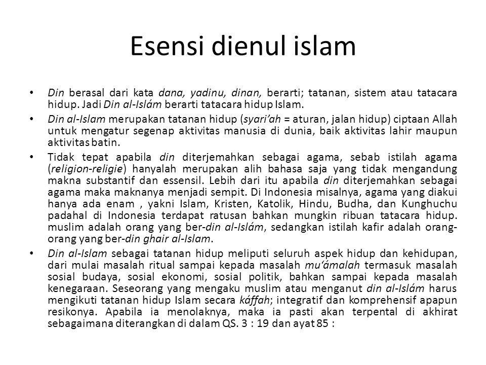Esensi dienul islam Din berasal dari kata dana, yadinu, dinan, berarti; tatanan, sistem atau tatacara hidup. Jadi Din al-Islám berarti tatacara hidup