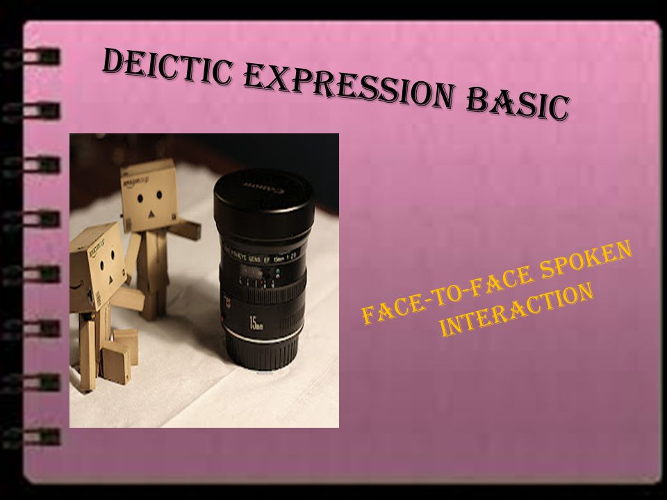 Deictic expression basic Face-to-face spoken interaction