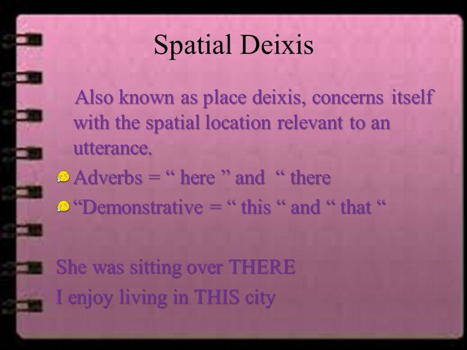 "Spatial Deixis Also known as place deixis, concerns itself with the spatial location relevant to an utterance. Adverbs = "" here "" and "" there ""Demonst"