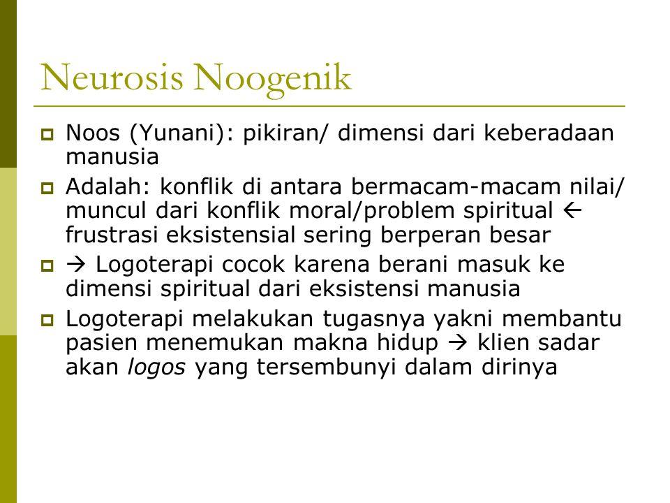 Neurosis Noogenik  Noos (Yunani): pikiran/ dimensi dari keberadaan manusia  Adalah: konflik di antara bermacam-macam nilai/ muncul dari konflik mora