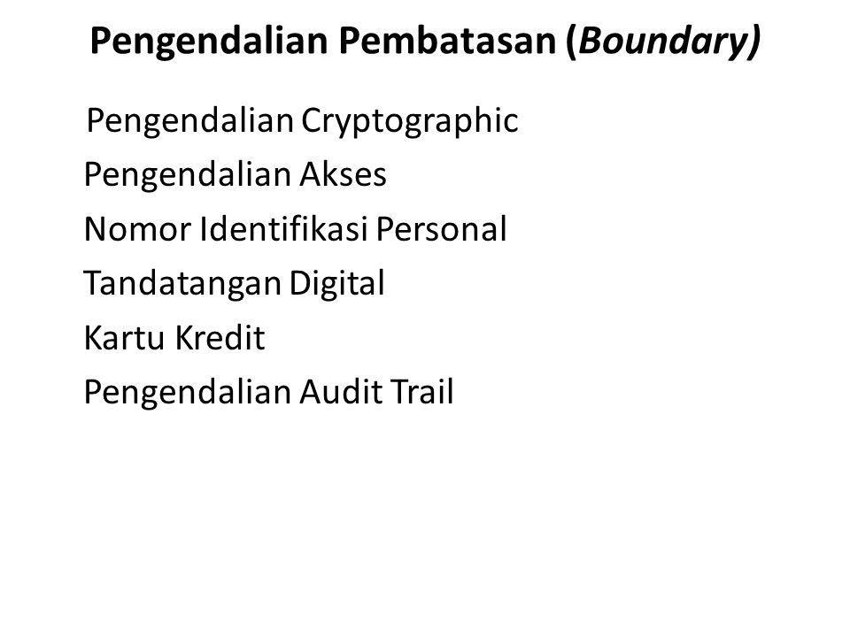 Pengendalian Pembatasan (Boundary) Pengendalian Cryptographic Pengendalian Akses Nomor Identifikasi Personal Tandatangan Digital Kartu Kredit Pengenda