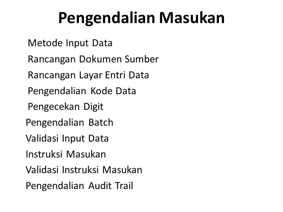 Pengendalian Masukan Metode Input Data Rancangan Dokumen Sumber Rancangan Layar Entri Data Pengendalian Kode Data Pengecekan Digit Pengendalian Batch