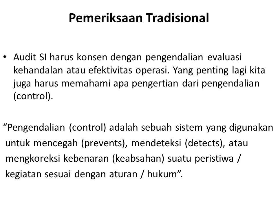 Pemeriksaan Tradisional Audit SI harus konsen dengan pengendalian evaluasi kehandalan atau efektivitas operasi. Yang penting lagi kita juga harus mema