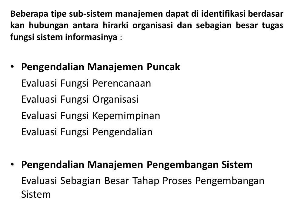 Beberapa tipe sub-sistem manajemen dapat di identifikasi berdasar kan hubungan antara hirarki organisasi dan sebagian besar tugas fungsi sistem inform