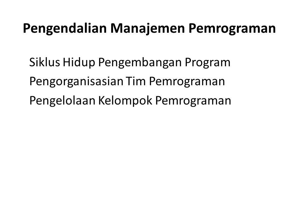 Pengendalian Manajemen Pemrograman Siklus Hidup Pengembangan Program Pengorganisasian Tim Pemrograman Pengelolaan Kelompok Pemrograman