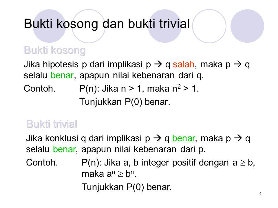 4 Bukti kosong dan bukti trivial Bukti kosong Jika hipotesis p dari implikasi p  q salah, maka p  q selalu benar, apapun nilai kebenaran dari q.