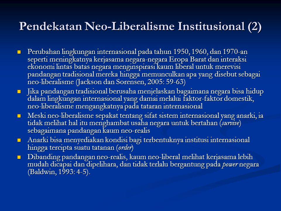 Pendekatan Neo-Liberalisme Institusional (2) Perubahan lingkungan internasional pada tahun 1950, 1960, dan 1970-an seperti meningkatnya kerjasama nega